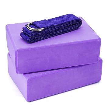 2 Espuma EVA Bloques de Yoga y Yoga correa Combo (Púrpura ...