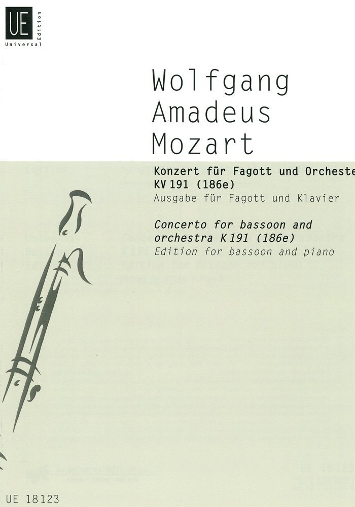 Concerto KV 191 (186e), Edition for Bassoon and Piano by Wolfgang Amadeus Mozart UNIVERSAL EDITION UE18123 57620