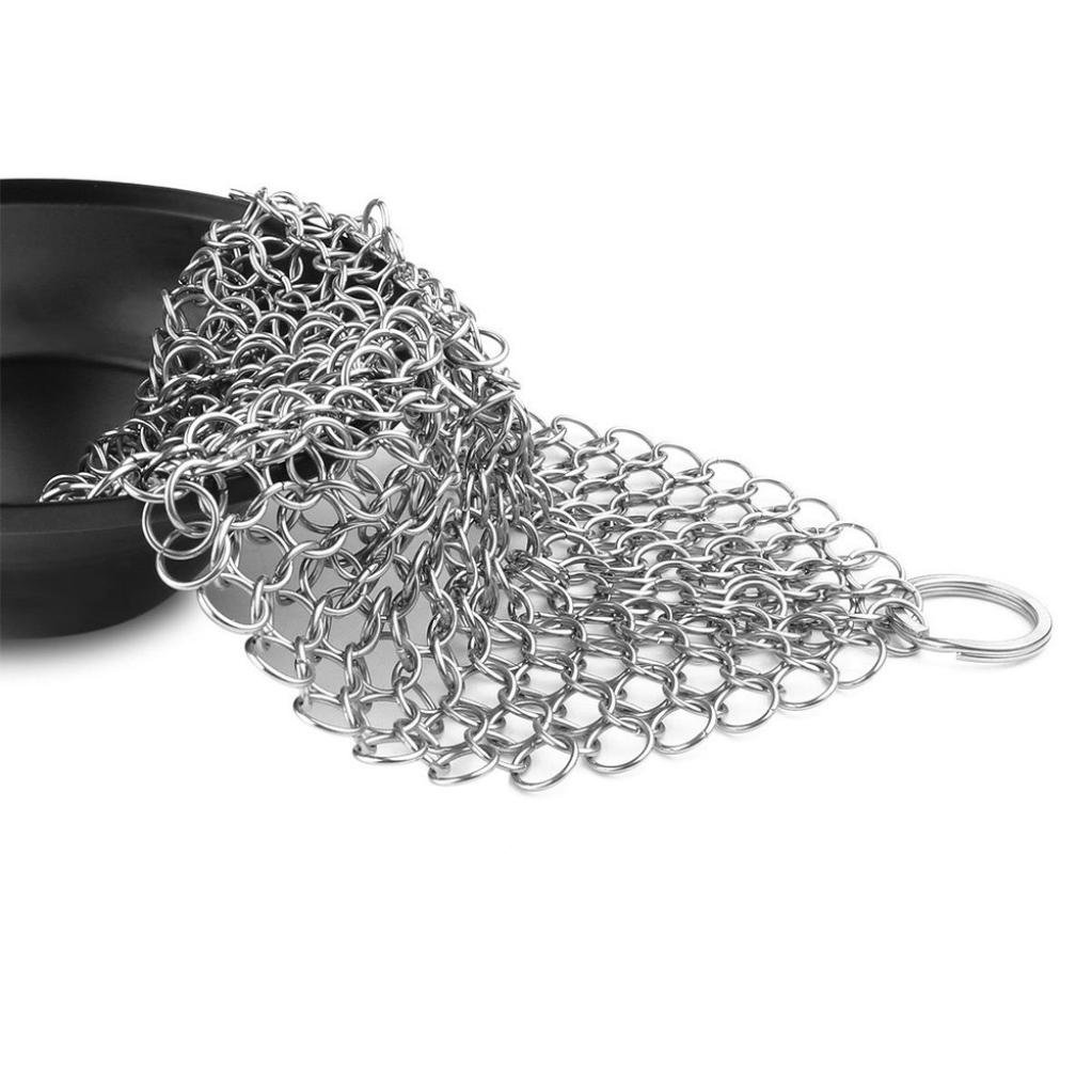 Staron 4'x 4' Stainless Steel Chainmail Scrubber 316 Cast Iron Cleaner Brush for Cast Iron Pan Skillet Pan Griddle Wok Grill Scraper Skillet Scraper (4 x 4' Sliver)