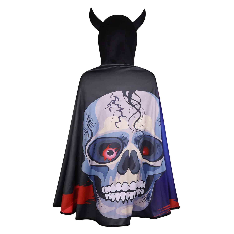 - Halloween Mask Red Childs Demon Costume Devil hooded Robe Mask 140cm