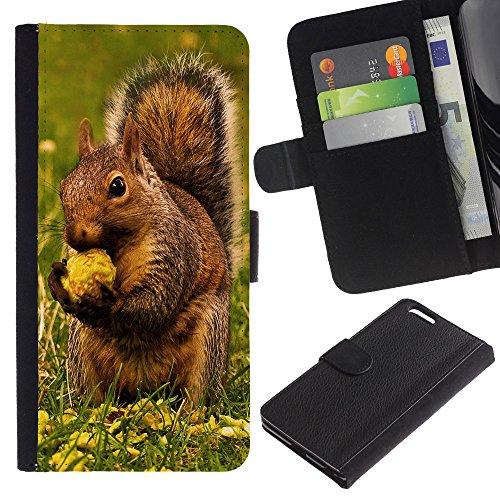 EuroCase - Apple Iphone 6 PLUS 5.5 - Brown Squirrel & Nut - Cuir PU Coverture Shell Armure Coque Coq Cas Etui Housse Case Cover