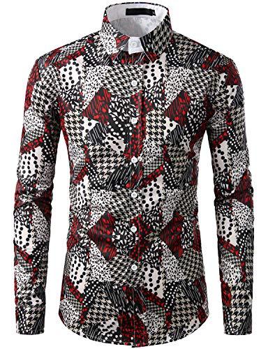 SOWTEE Men's Contrast Check Shirt Slim Fit Button Down Collar Long Sleeve Dress Shirt X-Large C481 (Check Cotton Shirt)
