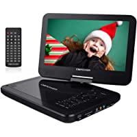 """DBPOWER 12"""" Portable DVD Player with 5-Hour Rechargeable Battery, 10"""" Swivel Display Screen, SD Card Slot and USB Port, with 1.8 meter Car Charger and Power Adaptor, Region Free- Black"""
