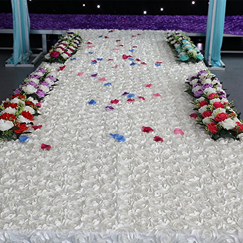 Muzata White Area Rugs, Wedding 3D Rose Aisle Carpet Runner, Tablecloth ,6.6ft Long 3.6Ft Wide (Hollywood Movie Costume And Props)