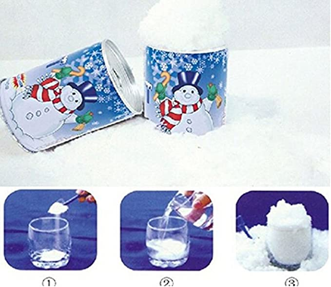 Faithtur 5pcs, Can Mix Make about 2 Cups or 1//8 Gallon of Fluffy Fake Snow Instant Snow Polymer Artificial Snow Powder Jar in a Can