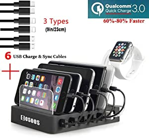 COSOOS Fastest Charging Station with 1Quick Charge 3.0, 6 Phone Charger Cables(3 Types),lWatch Stand,6-Port USB Charger Station,Charging Station for Multiple Devices,Tablet,Kindle(UL Certified)