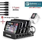 COSOOS Fastest Charging Station with Quick Charge QC 3.0, 6 Phone Charger Cables(3 Type),lWatch Stand,6-Port Multi USB…