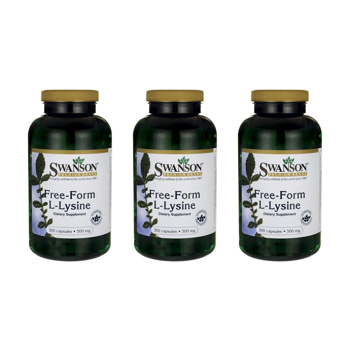 Swanson Free-Form L-Lysine 500 mg 300 Caps 3 Pack