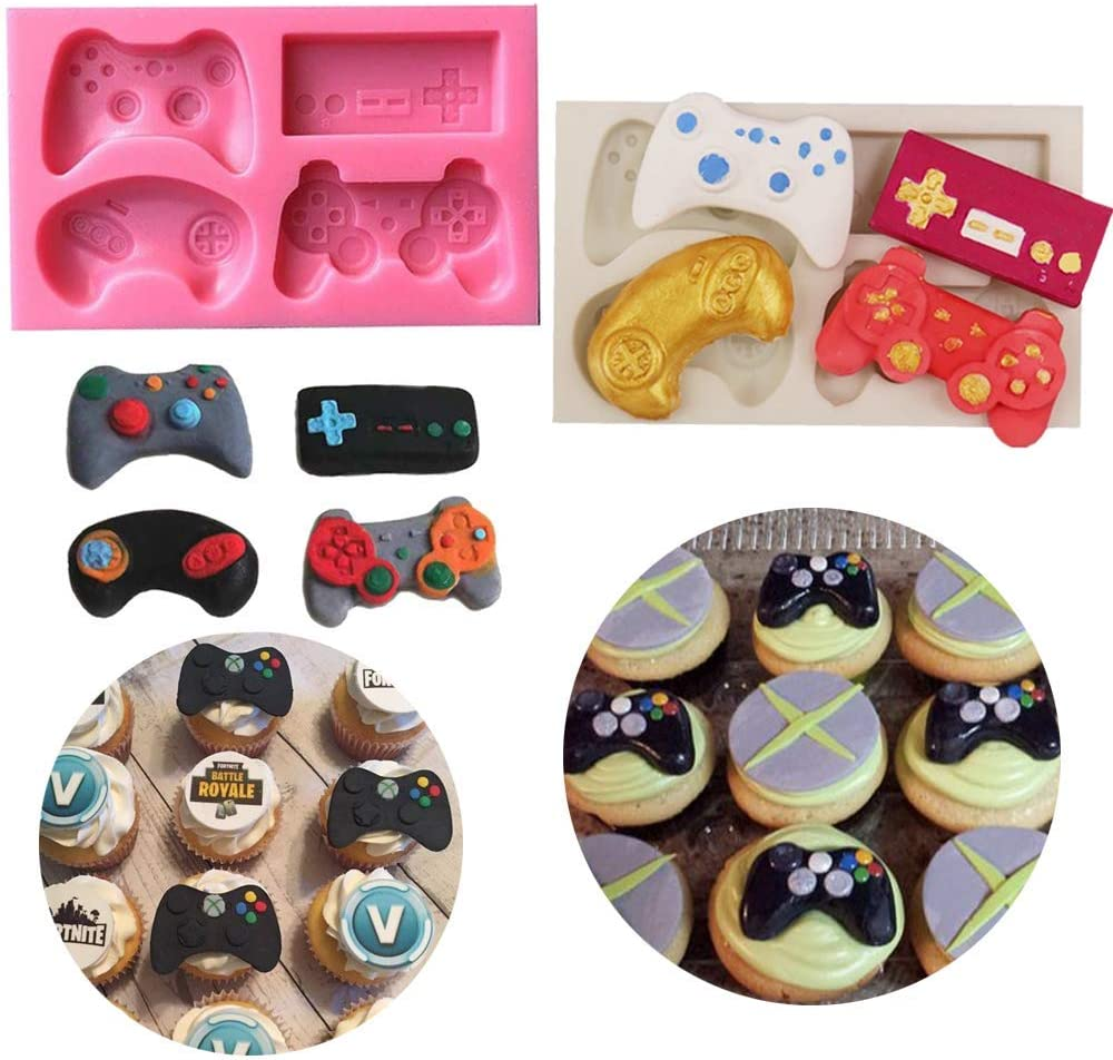 HiParty 2Pcs Game Controller Cake Fondant Mold - Video Game Gamepad Silicone Chocolate Candy Mold for Cupcake Topper Decoration Game Theme Party Ideas Favors Supplies