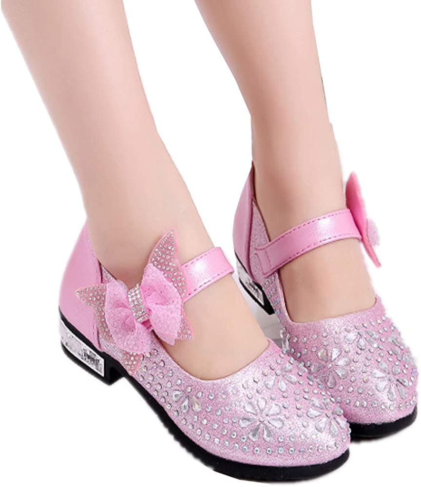 Eava Chan Girls PU Leather Mary Jane Shoes Rhinestone Buckle Strap Ballerina Flat Toddler//Little//Big Girl
