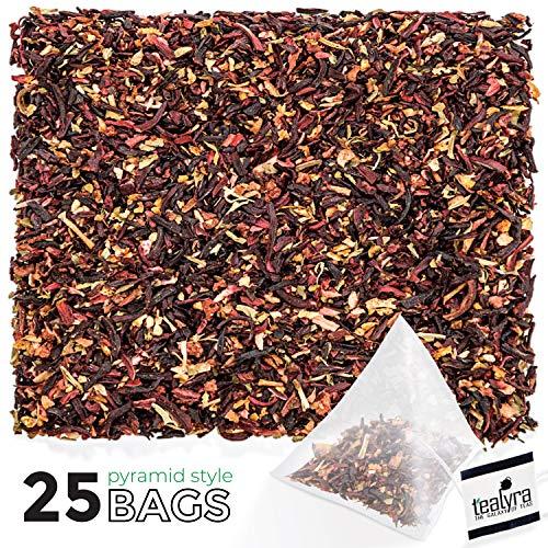 Apple Strawberry Tea - Tealyra - Strawberry Hibiscus Sangria Pyramids Bags - Apple Orange Mint - Herbal Fruity Loose Leaf Tea Blend - Caffeine-Free - Vitamin Rich - Hot or Iced - 25 Sachets