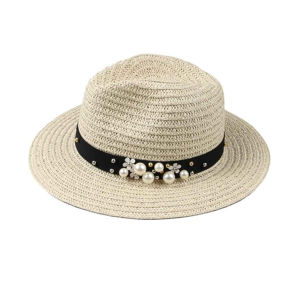 834abea5a Bobury Women Ladies Trip Caps Leisure Pearl Beach Sun Hats Pure ...