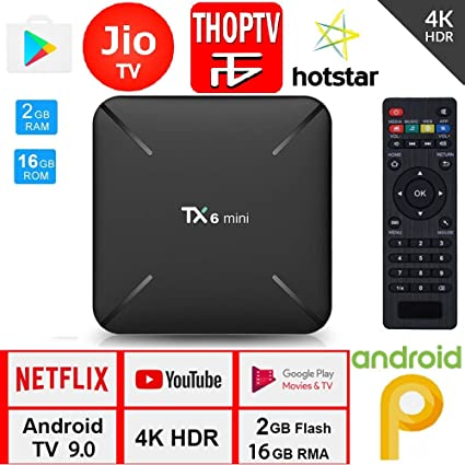 SreeTeK Android Box Tanix TX6 Mini 2GB 16GB Android Box for TV, JIO TV  HotStar Netflix YouTube Miracast & More, 2 4G WiFi Smart Android TV Box 4K