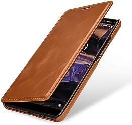 StilGut Book Type Case, Custodia per Nokia 7 Plus a Libro Booklet in Vera Pelle, Cognac