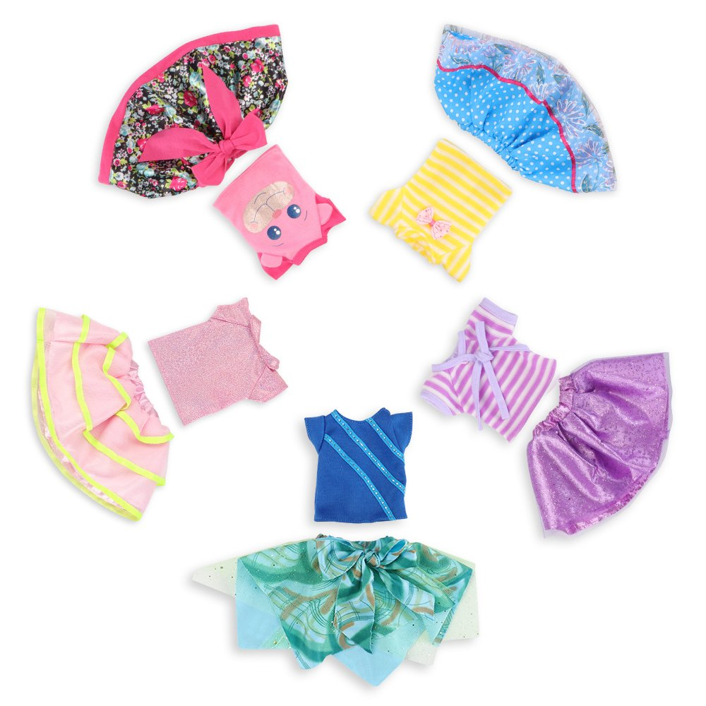Wakao Set of 5 Color-Topic Doll Clothes for 14.5 Inch American Girl Wellie Wishers Dolls (Purple, Yellow, Blue, Pink, Green)