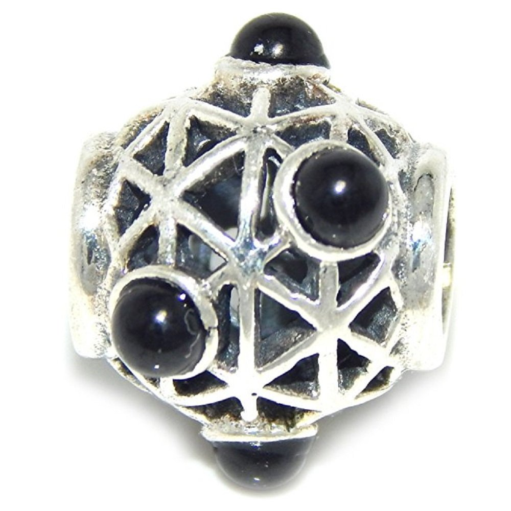 Solid 925 Sterling Silver Basket Barrel with Black Spheres Charm Bead