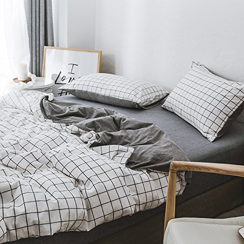 Nice Kexinfan Quilt Cover Washed Cotton Four-Piece Set Cotton Cotton Cotton Knit Cotton Bedding Sheets Quilt, Bed, White Plaid Spell Gray, 1.8M (6 Feet) Bed