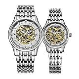 STARKING Watch Skeleton Automatic Waterproof Silver AML0185 Stainless Steel Bracelet Pair for Couples