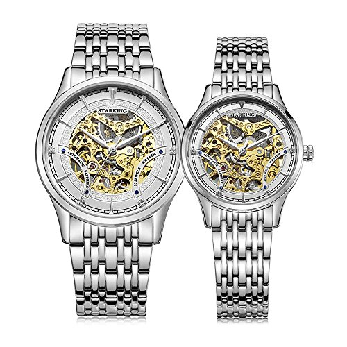 STARKING Watch Skeleton Automatic Waterproof Silver AML0185 Stainless Steel Bracelet Pair for Couples by STARKING