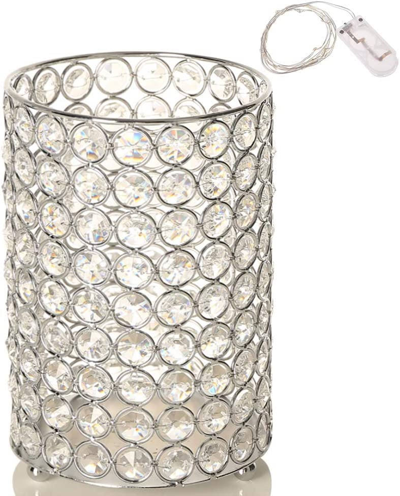 VINCIGANT Home Decoration Silver Crystal Floor Vase/Tealight Candle Holder/Wedding Centerpieces,Multi Colored Copper Wire String Light Included,8.3 Inches Tall