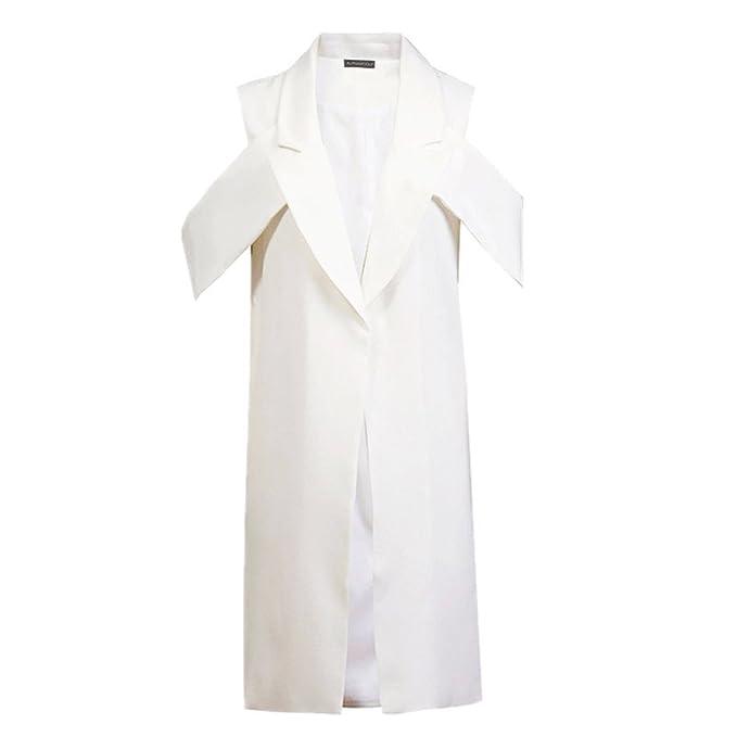 Amazon.com: mrxcff chaleco mujer ssleeveless blanco chaleco ...