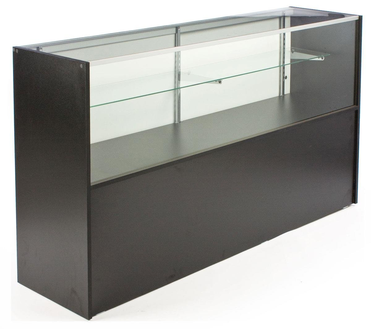 Amazon.com: Free-Standing Glass Display Case With Black Melamine ...