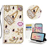STENES iPhone SE Case - STYLISH - 3D Handmade Crystal Girls Bags High Heel Lips Flowers Wallet Credit Card Slots Fold Stand Leather Cover Case for iPhone 5/iPhone 5S/iPhone SE - Pink
