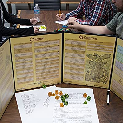 Stratagem The Master's Tome 4-Panel Customizable GM Screen with Free Inserts – Dry Erase, Dungeon & Game Master Accessory for Tabletop RPG Campaigns (Black): Office Products