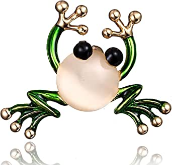 N-A Frog Insect Brooch Pin for Women, Crystal Green Enamel Insect Animal Brooches Pins Vintage Jewelry