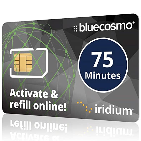 bluecosmo iridium 75 minute prepaid global satellite phone sim card 30 day expiry 75 - Prepaid Credit Cards No Fees