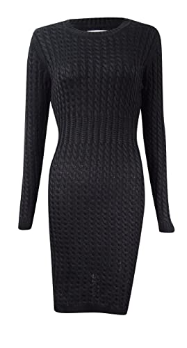 Calvin Klein Womens Petites Cable Knit Long Sleeves Sweaterdress