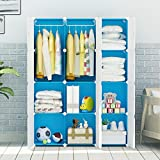 KOUSI Kids' Closet Wardrobe dresser Storage Organizer Portable for Children. Blue, 8 Cubes+2 Hanging Sections