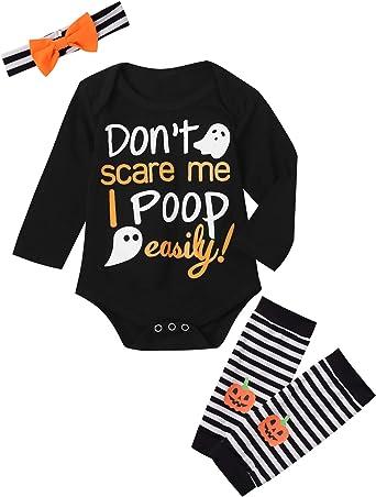 Baby Girls 3PCS Ghost Outfits Set Halloween Pumpkin Costume Long Sleeve Bodysuit