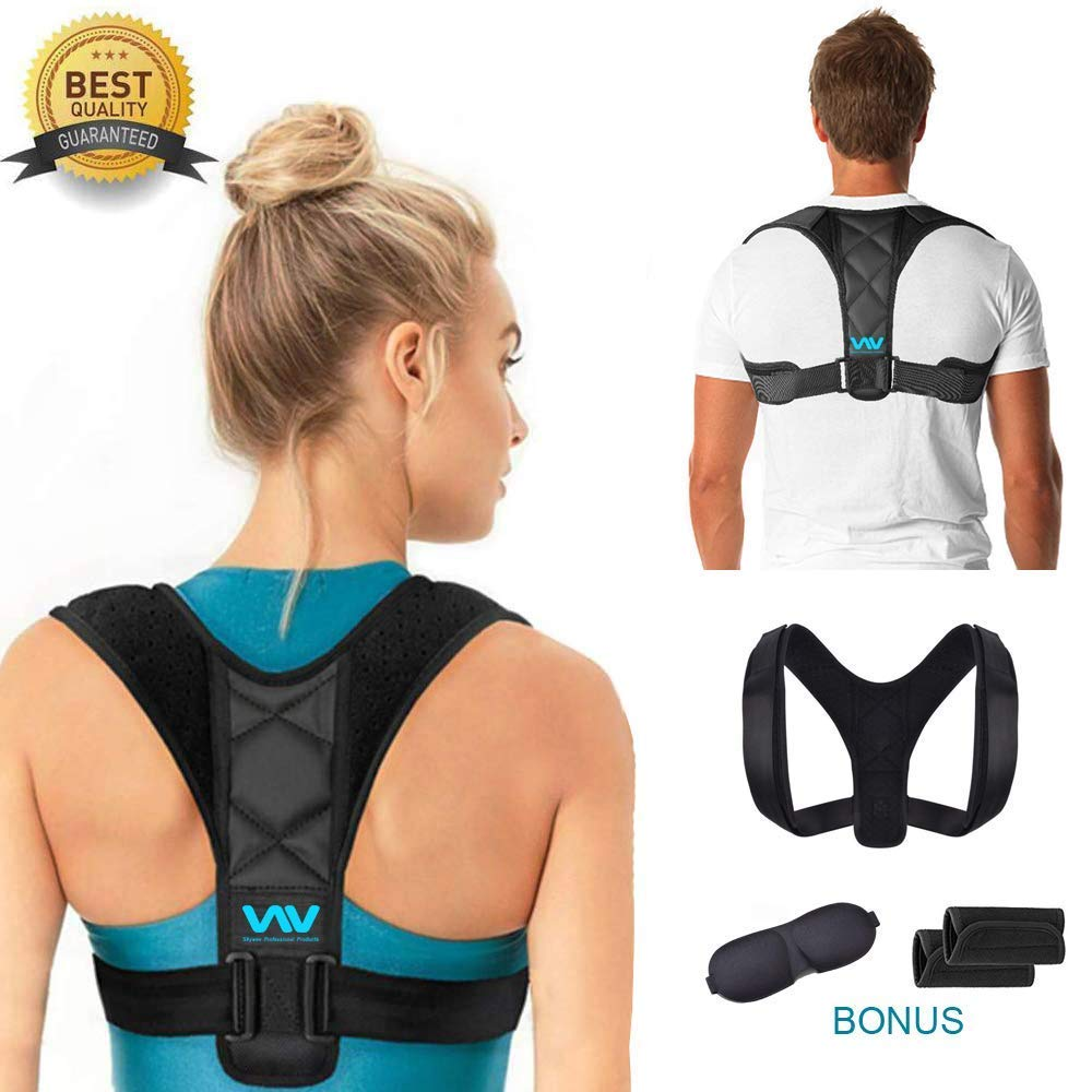 Posture Corrector for Women Men, Adjustable Upper Back Corrector Brace for Clavicle Support and Pain Relief from Neck, Back & Shoulder, Posture Trainer and Straightener