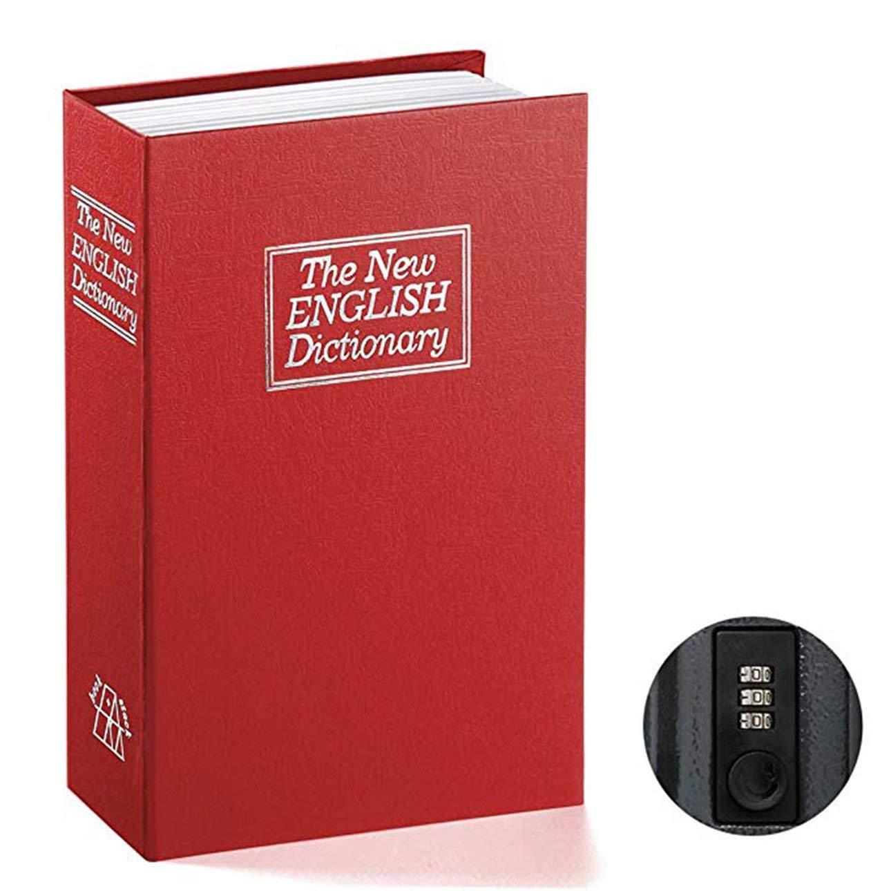 Negro Grande Celerhuak Caja Fuerte para Libros con Cerradura de combinaci/ón Jssmst Home Dictionary Diversion Metal Safe Lock Box 2017