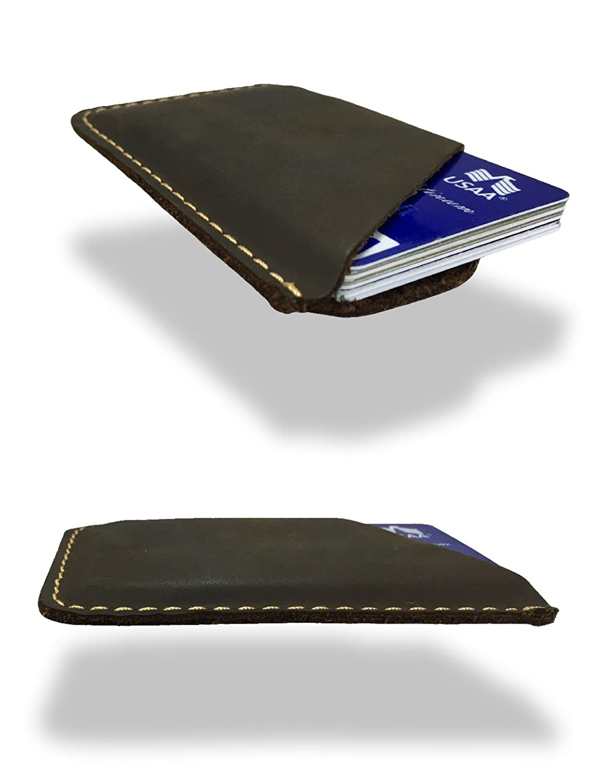 Modern Carry Leather Minimal Card Holder, Minimalist Wallet for Men & Women, Thin Credit Card Holder, Small Business Card Holder, Card Holder Wallet, Front Pocket Card Wallet - Magnum (Brown)