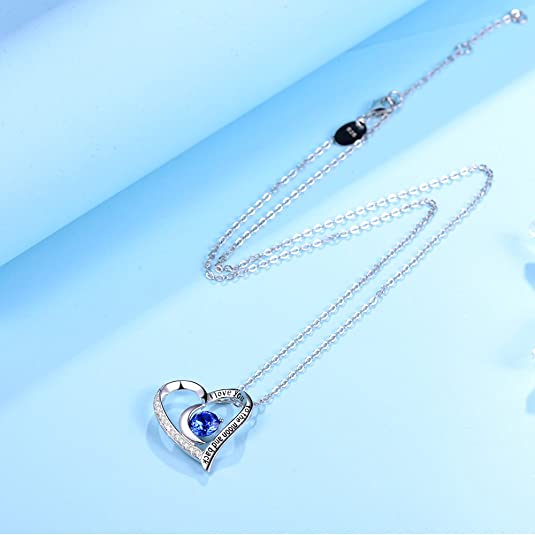 Sterling Silver Blue Sapphire Pendant September Birthstone Necklace Silver Jewelry Heart Blue Sapphire Necklace Gemstone Valentine Gift