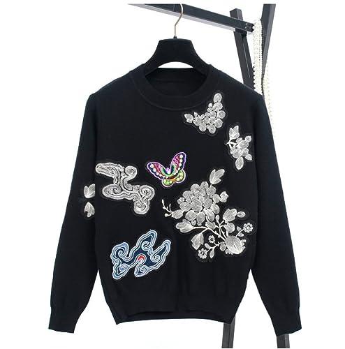 CHLXIClouds Mariposas Bordados Traseros Flores Y Pájaros Cobertura Suéteres