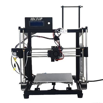 24V Impresora 3D Prusa I3 HICTOP porciones de DIY Kits 3DP-11 Máquina de aluminio del capítulo (Negro)