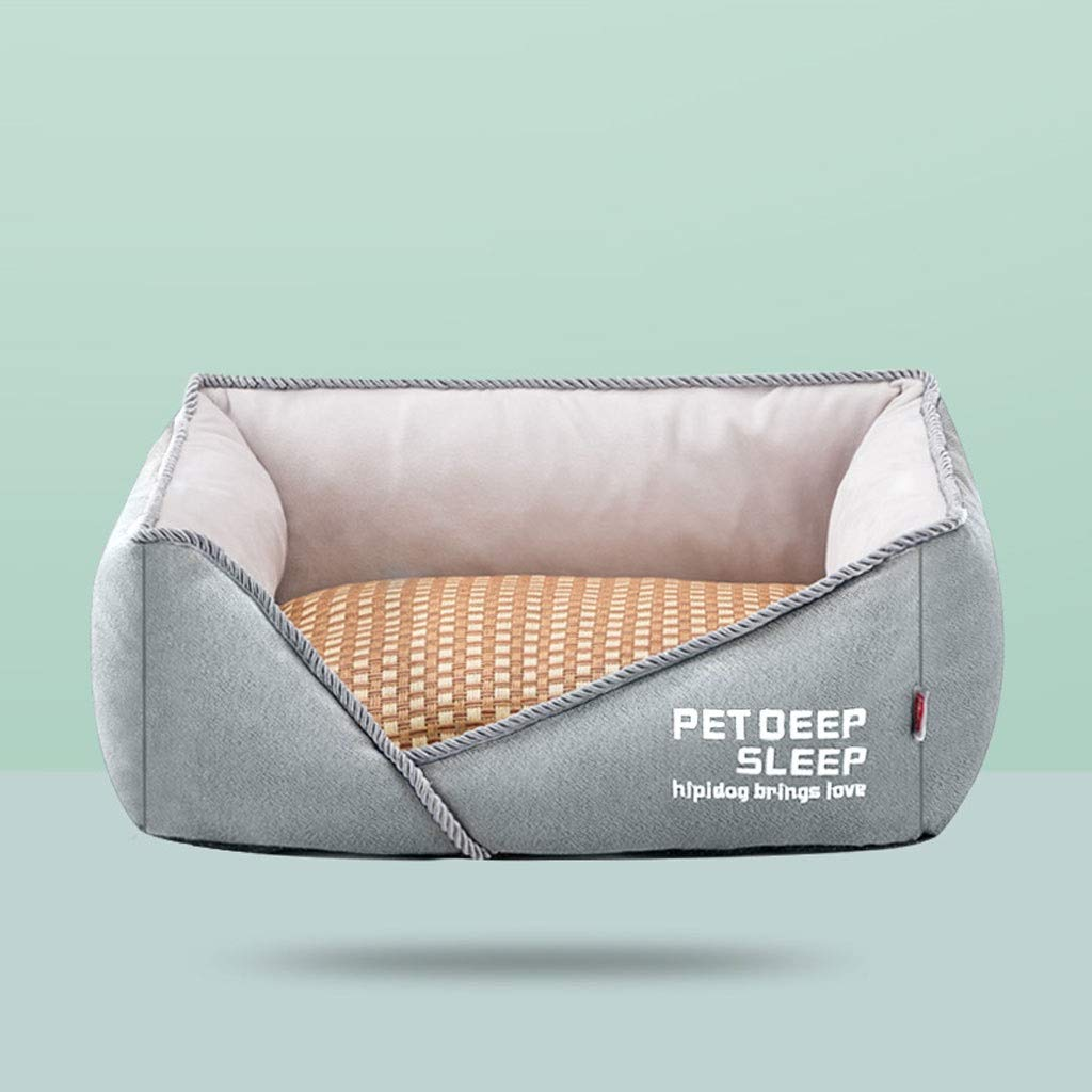 Green 70×55×20cm Green 70×55×20cm Washable Square Pet Nest, Teddy Large Medium Small Cat Dog Bed Home Super Soft Non-Slip Pet Supplies (color   Green, Size   70×55×20cm)