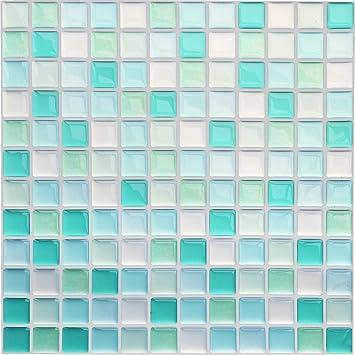 Yoillione Fliesenaufkleber Badezimmer Fliesenfolie Mosaik Fliesensticker  Bad Fliesen Selbstklebend Fliesendekor, Blau 3D Fliesenaufkleber kKüche ...