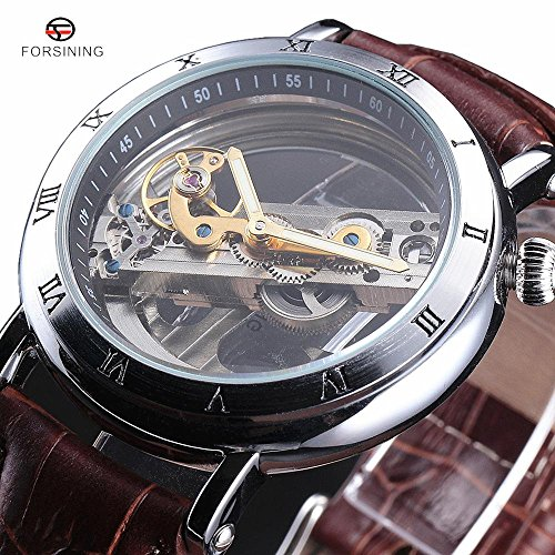 Transparent Antique (FORSINING Watches Men Luxury Roma Case Transparent Skeleton Automatic Mechanical Leather Strap Antique Wristwatch)