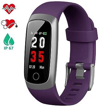iPosible Pulsera Actividad, Reloj Inteligente Mujer Hombre con Pulsómetro Presión Arterial Pulsera Inteligente con Cronómetro Pulsera Podómetro ...