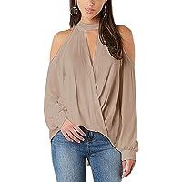 YOINS dames shirt met lange mouwen schoudervrij bovendeel trui voor dames V-hals carmen shirt lange mouwen blouse tops…