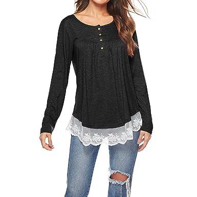 e1680be5f543 SHUAISHUAIKAI Women's Long Sleeve Shirts Button Down Swing Lace Trim Tunic  Casual Irregular Loose Tops Black