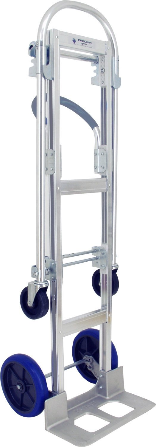Large Convertible Hand Truck Standard Frame RWM HC1-CA2-SW2-B3 Signature Wheels with Single Face Contact Brake 18 x 7.5 Cast Aluminum Nose Plate 1