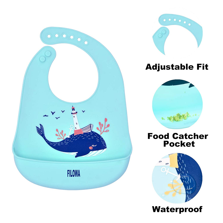 FILOWA Baby L/ätzchen Silikon F/ütterl/ätzchen Wasserdicht mit Auffangschale Silikon Babyl/ätzchen Gro/ß Weich D/ünn BPA Frei Kinder ab 4 Monate Abwaschbar Verstellbare Einfache Reinigung-3PCS
