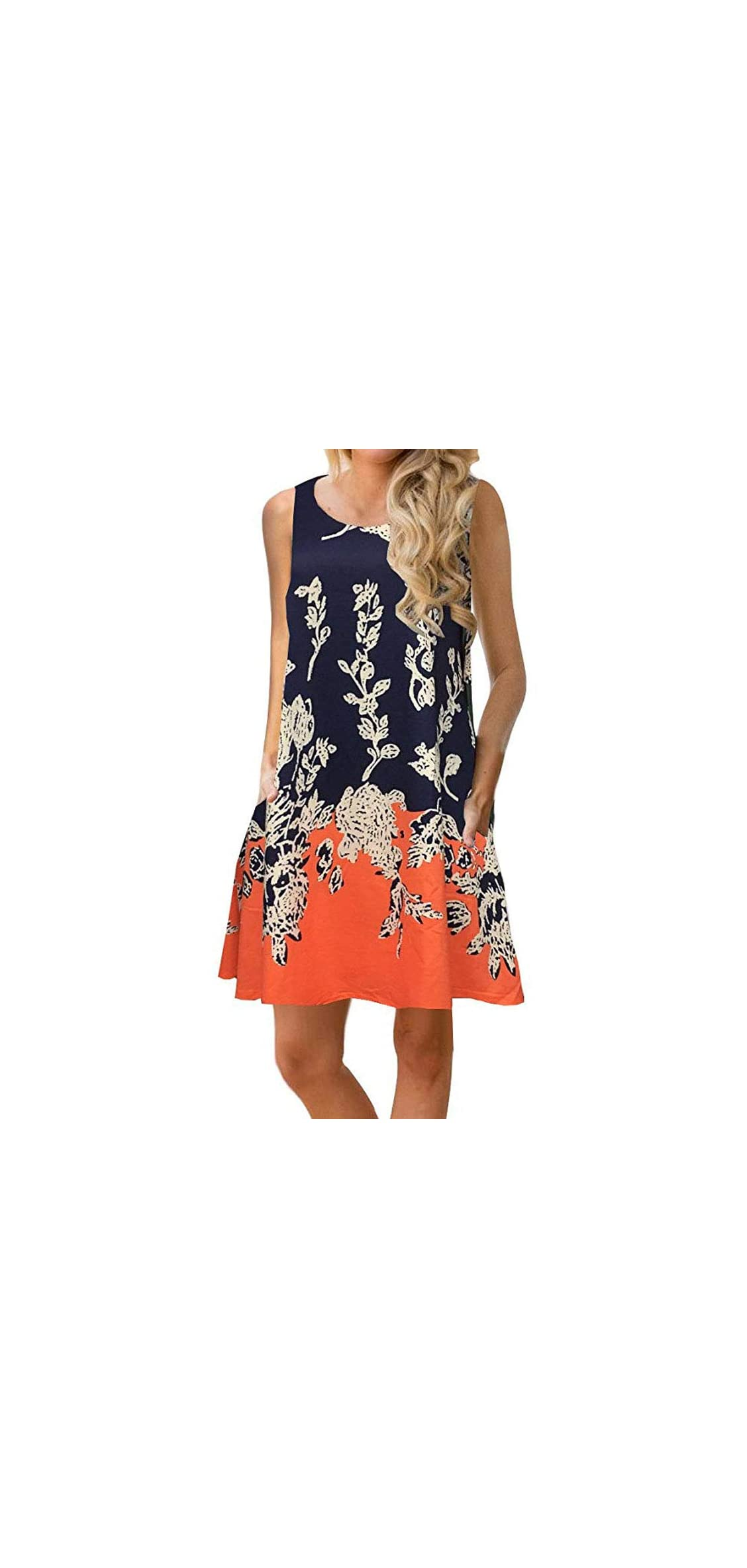 Womens Summer Floral Print Sleeveless Sundress/short