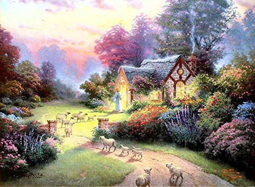 100% Genuine Real Hand Painted The Good Shepherds Cottage Canvas Oil Painting for Home Wall Art Decoration, Not a Print/ Giclee/ Poster