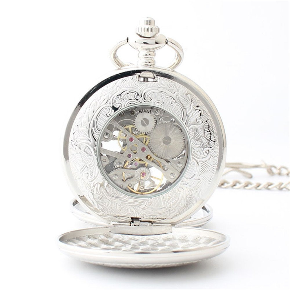 Zxcvlina Classic Smooth Exquisite Silvery Mechanical Pocket Watch Boutique Gear Carved Unisex Hollowed Retro Pocket Watch with Chain Suitable for Gift Giving by Zxcvlina (Image #3)